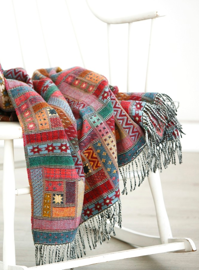 Colorful Merino wool throw blanket GREECE
